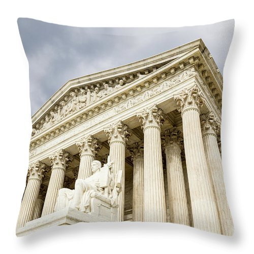 Washington_dc Throw Pillow featuring the photograph Supreme Court United States by Csaba Demzse