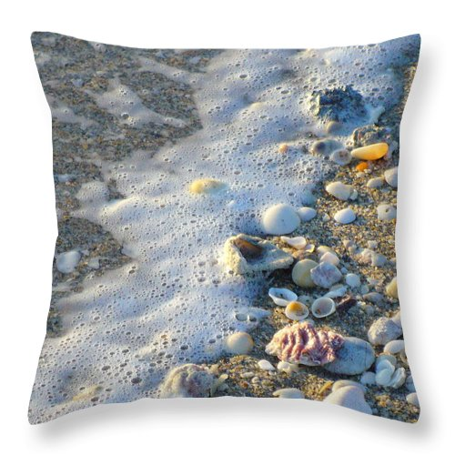 Shells Throw Pillow featuring the photograph Surf And Shells by Peggy King