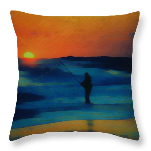 Digital Photograph Throw Pillow featuring the photograph Surf Fishing by David Lane