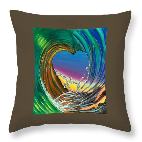 Surf Throw Pillow featuring the painting Surf Love Clark Little By Luke by Luke Walker
