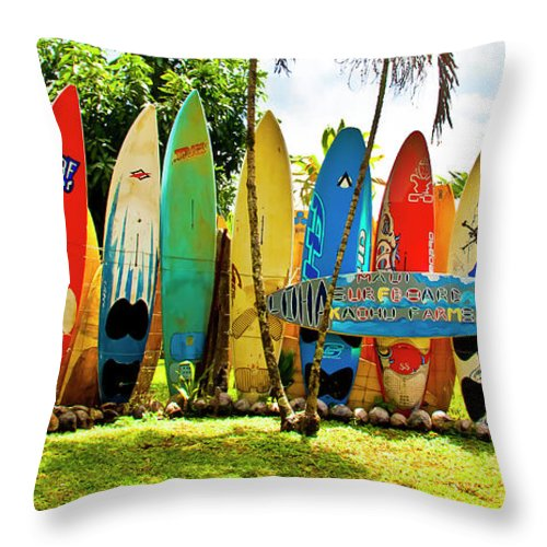 Surfboard Throw Pillow featuring the photograph Surfboard Fence II-the Amazing Race by Jim Cazel
