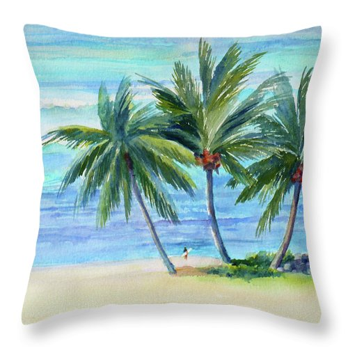 Oahu Throw Pillow featuring the painting Surfer At Waikiki by Janet Zeh