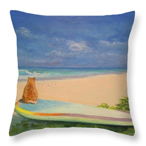 Cat Throw Pillow featuring the painting Surfer Cat by Paul Emig