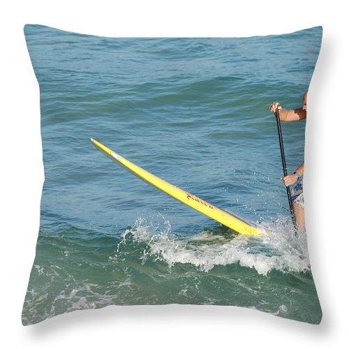 Sea Scape Throw Pillow featuring the photograph Surfer Dude by Rob Hans