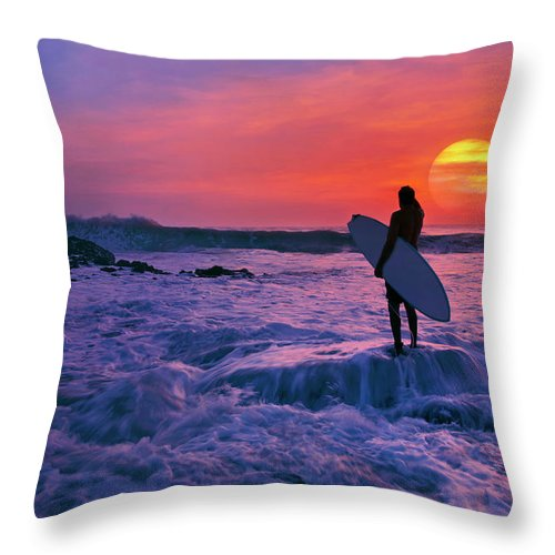 Surfer Throw Pillow featuring the photograph Surfer On Rock Looking Out From Blowing Rocks Preserve On Jupiter Island by Justin Kelefas