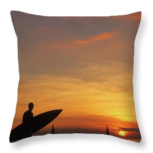 Surfing Throw Pillow featuring the photograph Surfer by Steve Williams