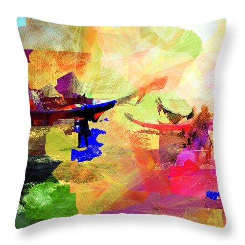 Seaside Throw Pillow featuring the digital art Surfers by Agnes V