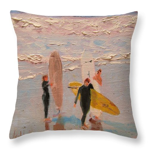 Water Throw Pillow featuring the painting Surfers by Barbara Andolsek