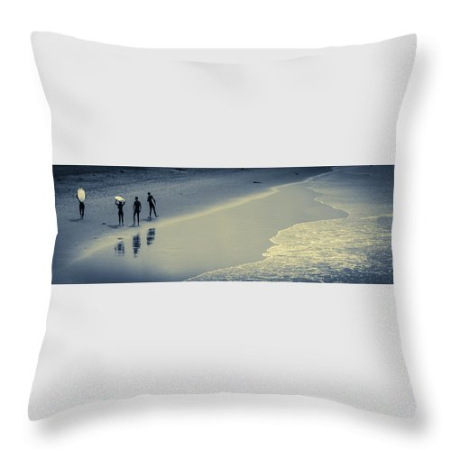 Ocean Throw Pillow featuring the photograph Surfers Heading Home by Bette Levine