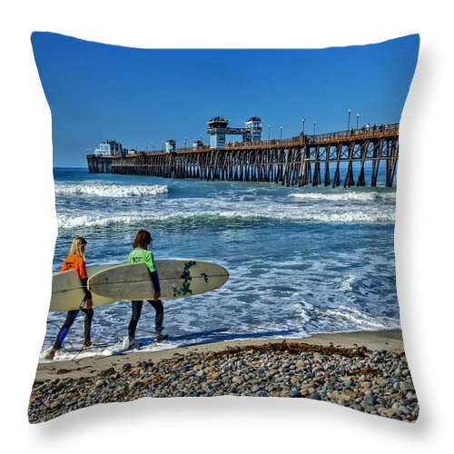 Carlsbad Throw Pillow featuring the photograph Surfing Today by Diana Powell