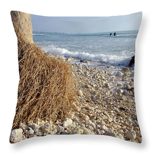 Surfing Throw Pillow featuring the photograph Surfing With Palms by David Lee Thompson
