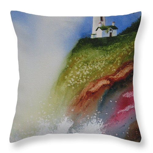 Lighthouse Throw Pillow featuring the painting Surfside by Karen Stark