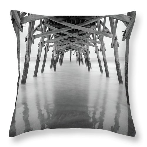 Long Exposure Throw Pillow featuring the photograph Surfside Pier Exposure by Charles Lawhon