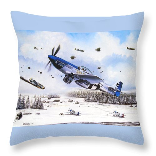 Aviation Throw Pillow featuring the painting Surprise At Asch by Marc Stewart