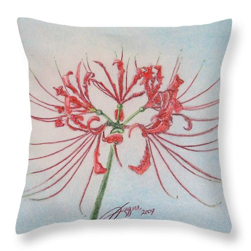 Fuqua - Artwork Throw Pillow featuring the drawing Surprise Lily by Beverly Fuqua