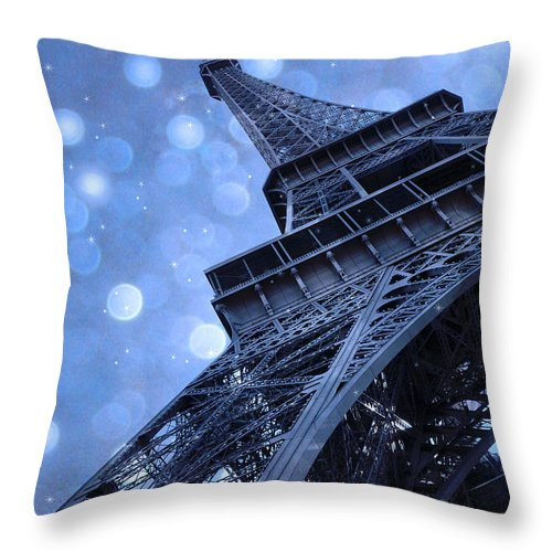 Paris Eiffel Tower Starry Night Photos Throw Pillow featuring the photograph Surreal Blue Eiffel Tower Architecture - Eiffel Tower Sapphire Blue Bokeh Starry Sky by Kathy Fornal