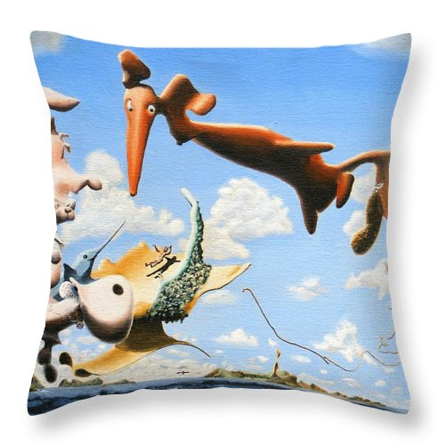 Surreal Throw Pillow featuring the painting Surreal Friends by Dave Martsolf