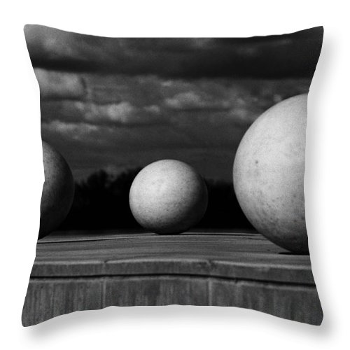 Black And White Throw Pillow featuring the photograph Surreal Globes by Peter Piatt