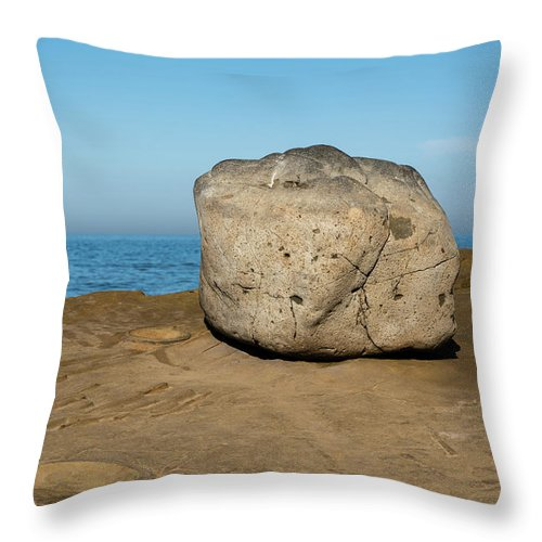 Surreal Rock Throw Pillow featuring the photograph Surreal Rock At Point Loma by Robert VanDerWal