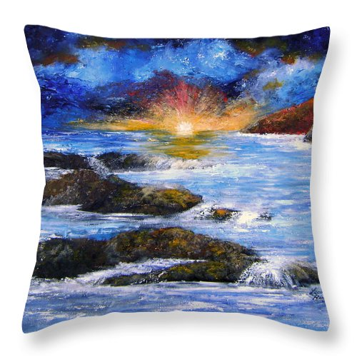 Seascape Throw Pillow featuring the painting Surreal Sky And Sea by Leonardo Ruggieri