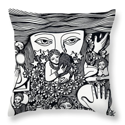 Drawing Throw Pillow featuring the drawing Surround Yoursel With Roses Love Drink And Be Silent The More Is Nothing by Jose Alberto Gomes Pereira