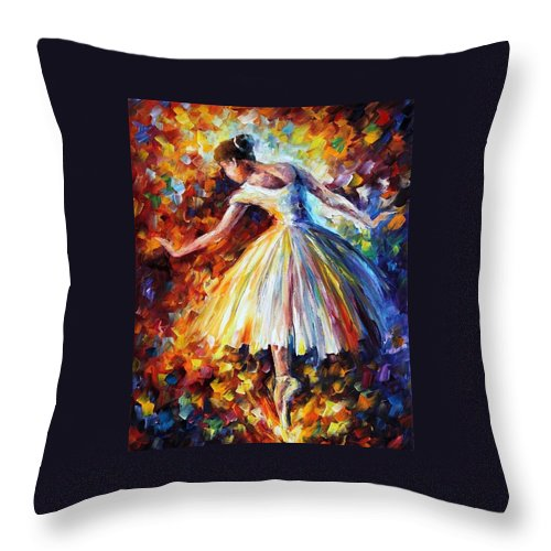 Afremov Throw Pillow featuring the painting Surrounded By Music by Leonid Afremov