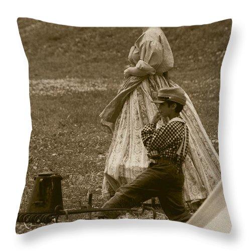 Sepia Throw Pillow featuring the photograph Surveying The Battle by David Dunham