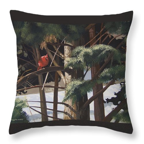 Landscape Throw Pillow featuring the painting Surveying The Snow by Peter Muzyka