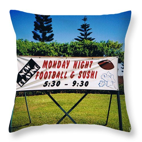 Kauai Throw Pillow featuring the photograph Sushi And Football In Hawaii by Tommy Anderson