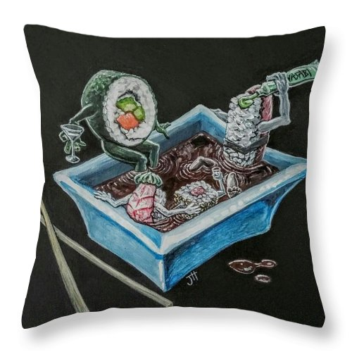 Sushi Throw Pillow featuring the painting Sushi Party by Jennifer Hotai