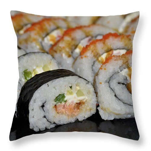 Sushi Throw Pillow featuring the photograph Sushi Rolls From Home by Carolyn Marshall