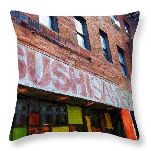 'sushi Samba' Throw Pillow featuring the digital art Sushi Samba Sketch by Randy Aveille