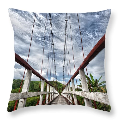 Asia Throw Pillow featuring the photograph Suspended Bridge by MotHaiBaPhoto Prints