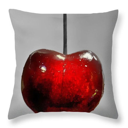 Cherry Throw Pillow featuring the photograph Suspended Cherry by Suzanne Stout