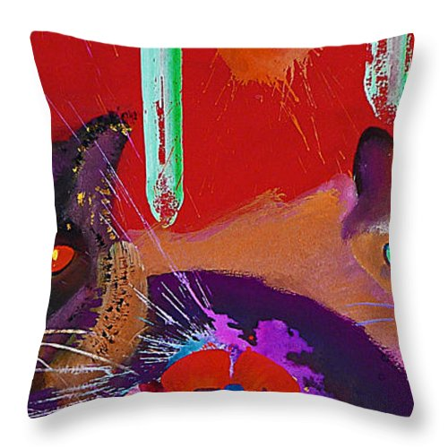 Cat Throw Pillow featuring the painting Suspicious Minds by Charles Stuart