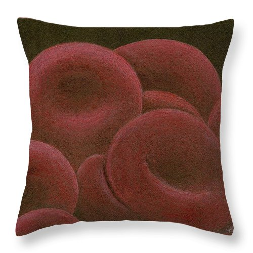 Red Blood Cells Throw Pillow featuring the drawing Sustenance by Jennie Richards
