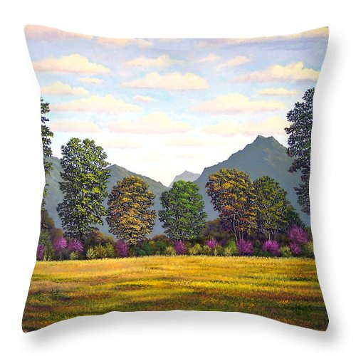 Mountains Throw Pillow featuring the painting Sutter Buttes In Springtime by Frank Wilson