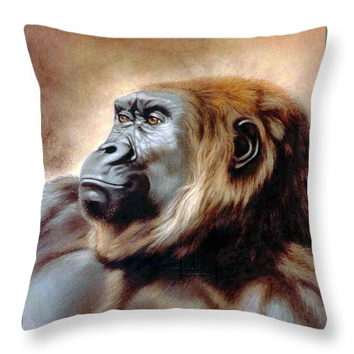 Gorilla Throw Pillow featuring the painting Suzie Q by Deb Owens-Lowe