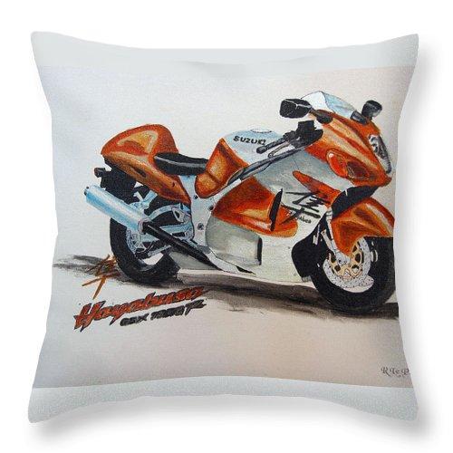 Suzuki Hayabusa Throw Pillow featuring the painting Suzuki Hayabusa by Richard Le Page