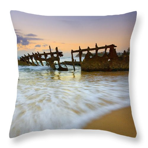 Shipwreck Throw Pillow featuring the photograph Swallowed by the Tides by Mike Dawson