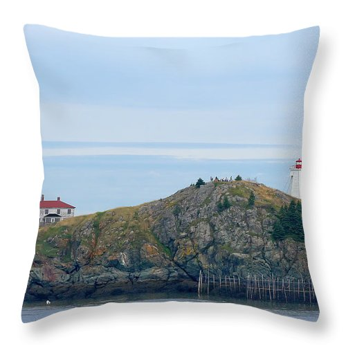 Lighthouse Throw Pillow featuring the photograph Swallowtail Lighthouse And Keeper by Thomas Marchessault