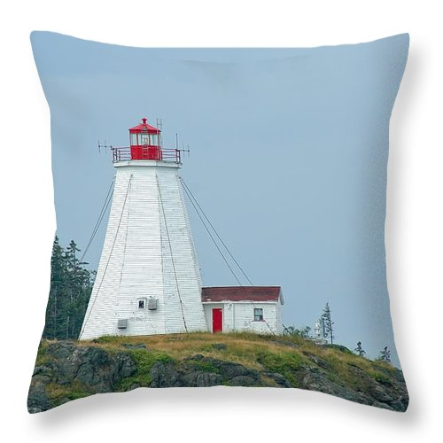 Lighthouse Throw Pillow featuring the photograph Swallowtail Lighthouse by Thomas Marchessault