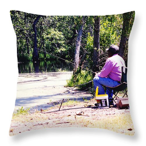 Swamps Throw Pillow featuring the photograph Swamp Fishing by Michelle Powell