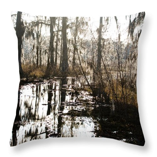 Trees; Landscape Throw Pillow featuring the photograph Swamps Of Louisiana 5 by Sally Mellish