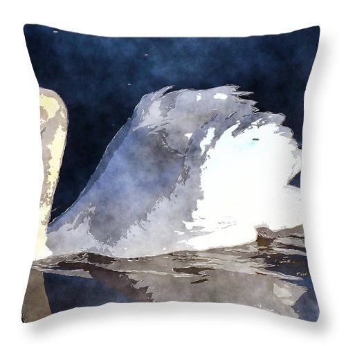 Swan Throw Pillow featuring the photograph Swan by David G Paul