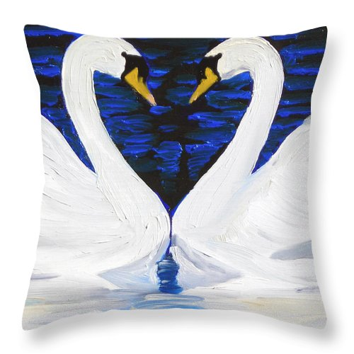 Swans Throw Pillow featuring the painting Swan Heart by Michael Lee