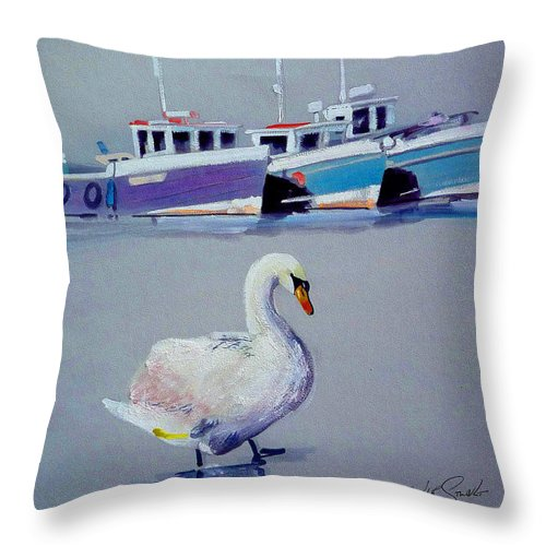 Swan Throw Pillow featuring the painting Swan Lake With Pleasure Boats by Charles Stuart
