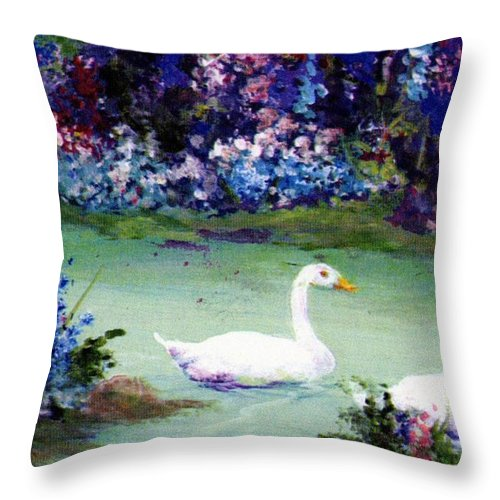 Writermore Throw Pillow featuring the mixed media Swan Lake by Writermore Arts