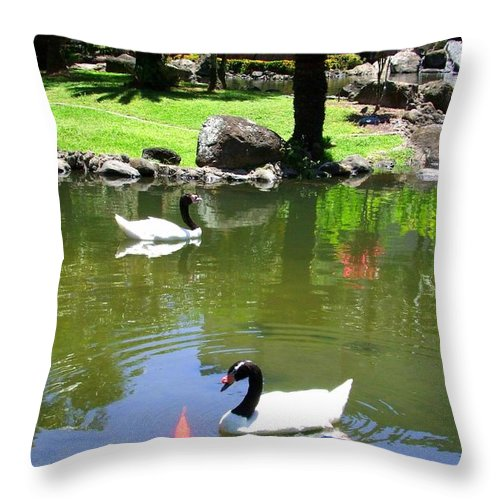 Swan Throw Pillow featuring the photograph Swans And Gold Fish by Mary Deal