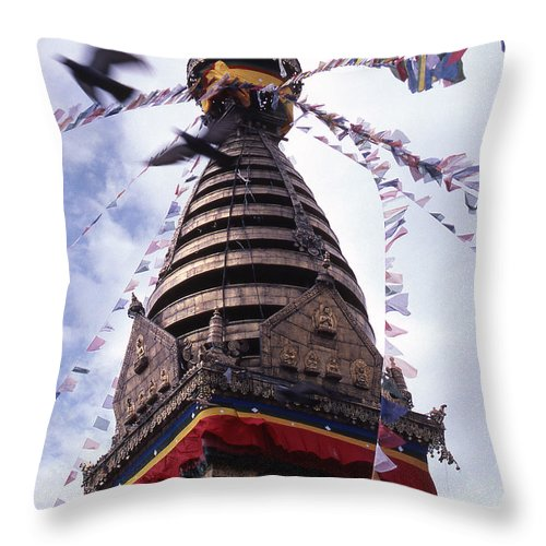 Swayambhunath Throw Pillow featuring the photograph Swayambhunath by Patrick Klauss